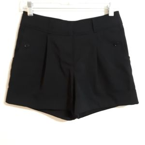 H&M pleated high waist cuffed shorts sz 4 black